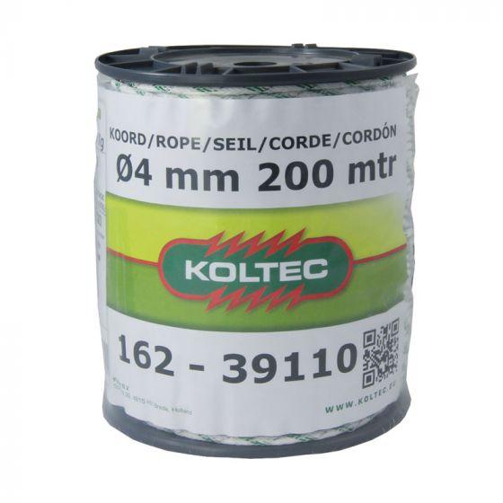 Koord, wit/groen, 200m 4 mm