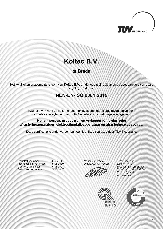 Koltec ISO Certificaat